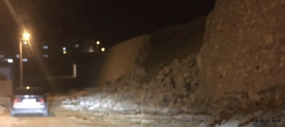 Alanyurt'da istinat duvarı çöktü