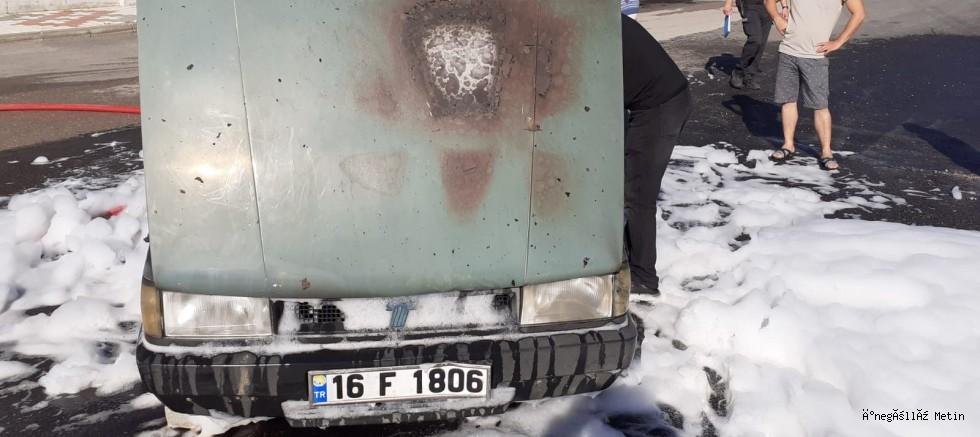 Araç yangını korkuttu